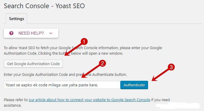 Search Console Configuration in Yoast SEO