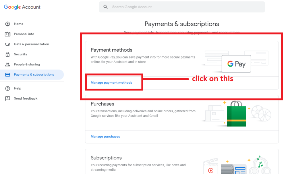 manage payment method-Delete Disabled Adsense Account
