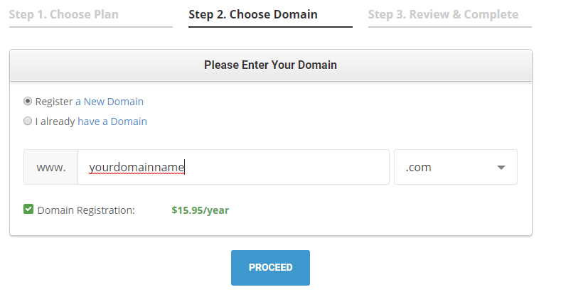 choose your domain name from siteground