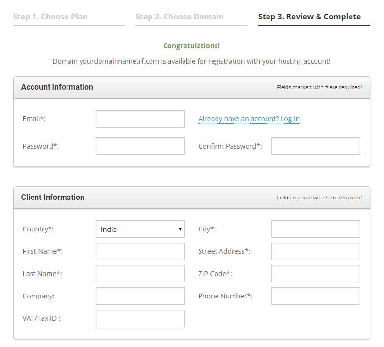 create your account with siteground hosting