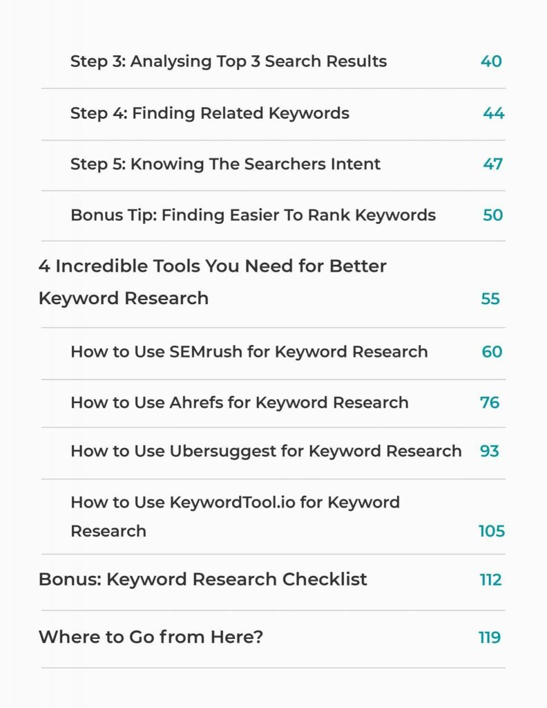 keyword research made it easy index of ebook
