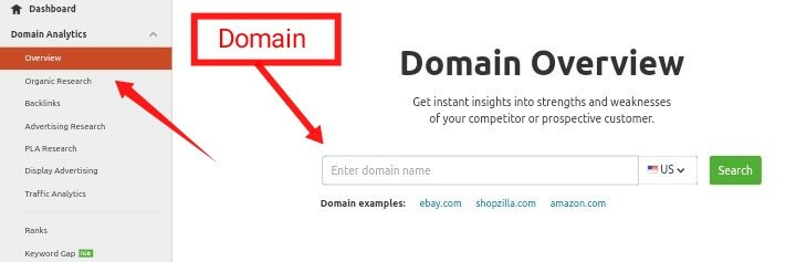 domain analysis semrush