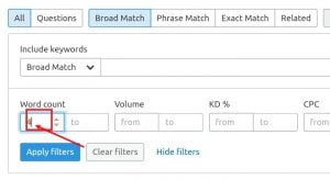 semrush advance filter