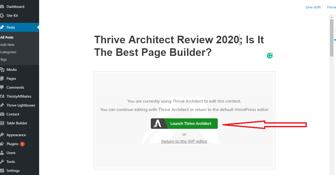 edit post with thrive page builder