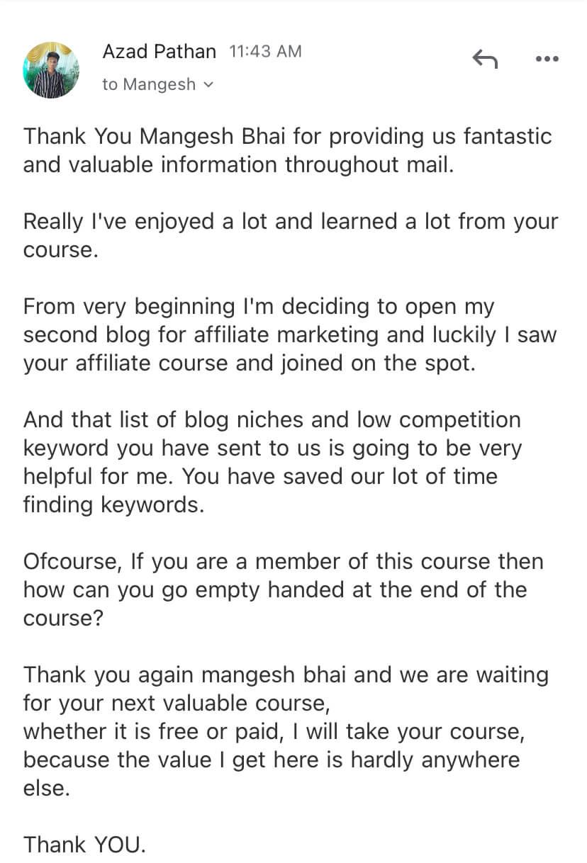 affiliate course feedback