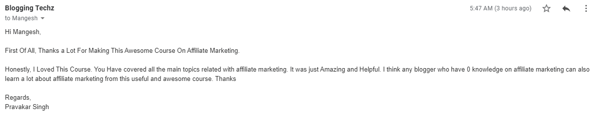 feedback of 10 days affiliate marketing course