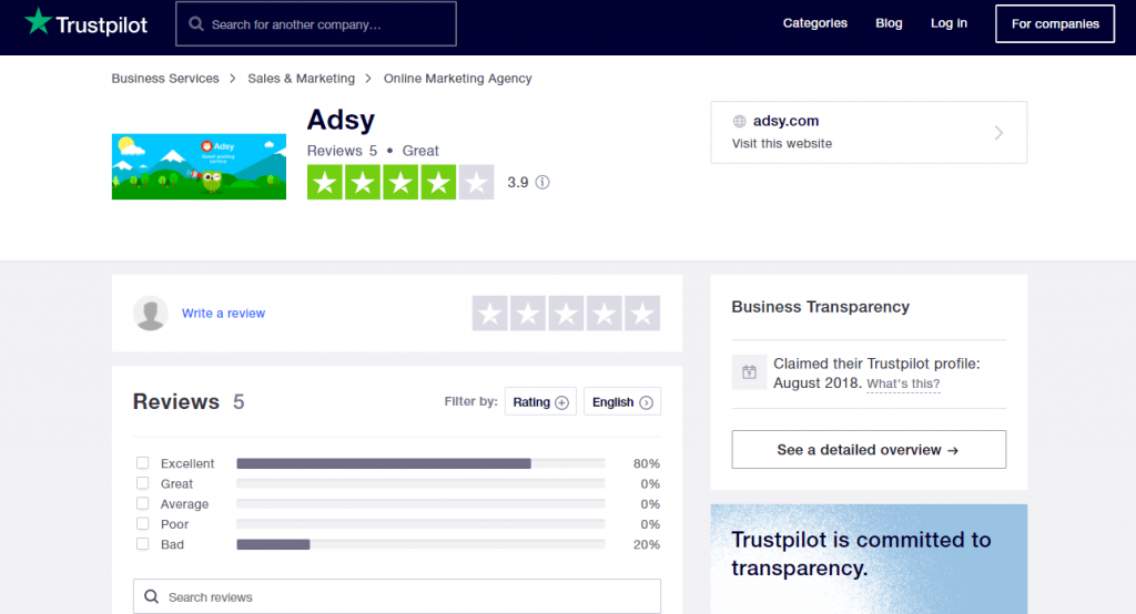 adsy reviews on trustpilot