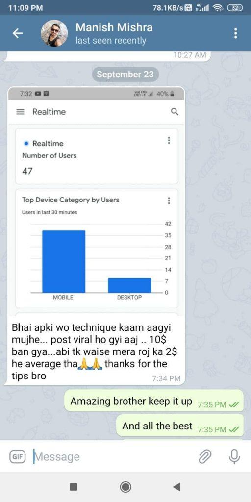 feedback on telegram